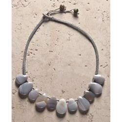 Aluma USA Grey Agate Teardrops Necklace