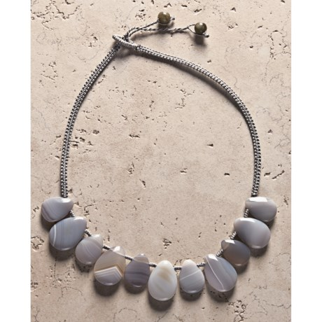 Aluma USA Grey Agate Teardrops Necklace