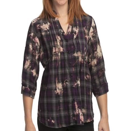 She's Cool Garment-Dyed Tunic Shirt - Mandarin Collar, 3/4 Sleeve (For Women)