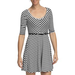She's Cool She's Cool Striped Skater Dress - Belted, 3/4 Sleeve (For Women)