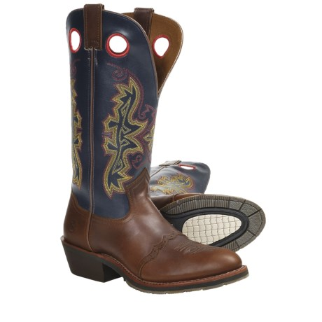 Double H Buckaroo Cowboy Boots - Leather, Saddle Vamp (For Men)
