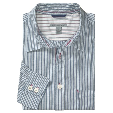 Martin Gordon Cotton Stripe Sport Shirt - Long Sleeve (For Men)