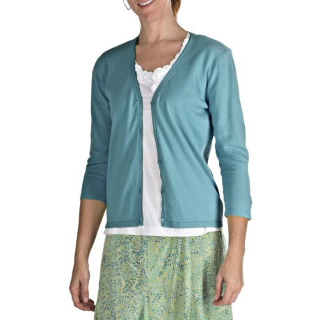 Nomadic Traders Ribbon Trim Cardigan Sweater - Cotton, 3/4 Sleeve (For Women)