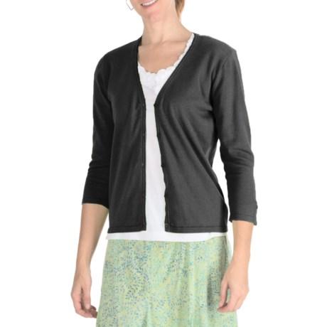 Nomadic Traders Ribbon Trim Cardigan Sweater - Cotton, 3/4 Sleeve (For Women)