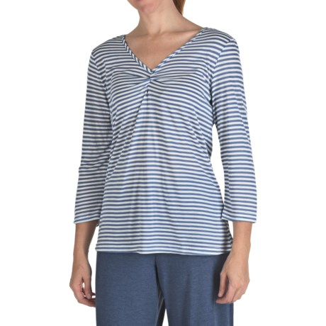 Nomadic Traders Cotton-Micromodal Stripe Tunic Shirt - 3/4 Sleeve (For Women)