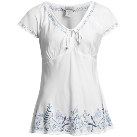 Fresco by Nomadic Traders Embroidered Flora Shirt - Short Sleeve (For Women)