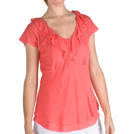 Nomadic Traders Ruffled Chiffon Shirt - Short Sleeve (For Women)