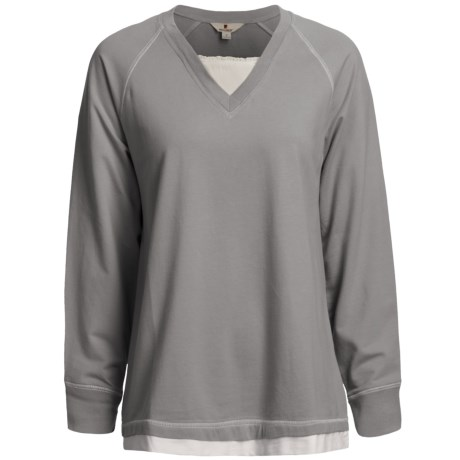 Woolrich Weekend Wear Lounge Shirt - Stretch French Terry Cotton, V-Neck (For Women)
