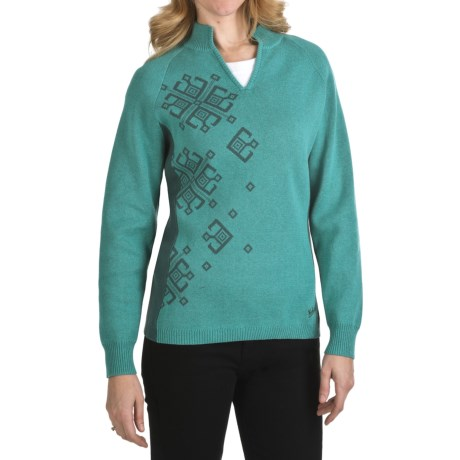 Woolrich Seneca Point Sweater - Cotton, Split Neck, Long Sleeve (For Women)