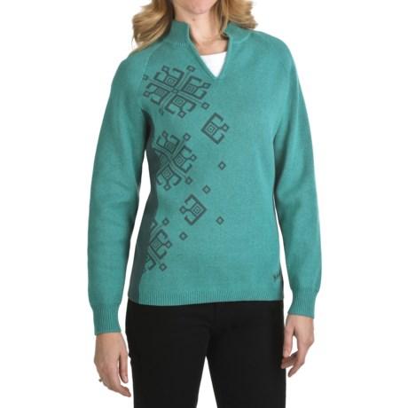Woolrich Seneca Point Sweater - Cotton, Split Neck, Long Sleeve (For Women)