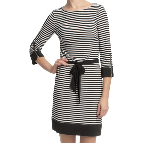 Laundry by Design Matte Jersey Skinny Stripe Dress - 3/4 Sleeve (For Women)