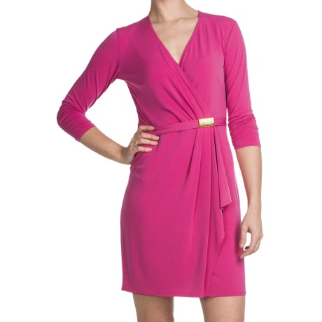 Laundry by Design Matte Jersey Asymmetrical Wrap Dress - 3/4 Sleeve (For Women)