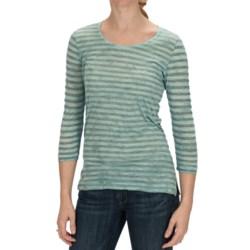 Casual Studio Stripe Shirt - Scoop Neck, 3/4 Sleeve (For Women)