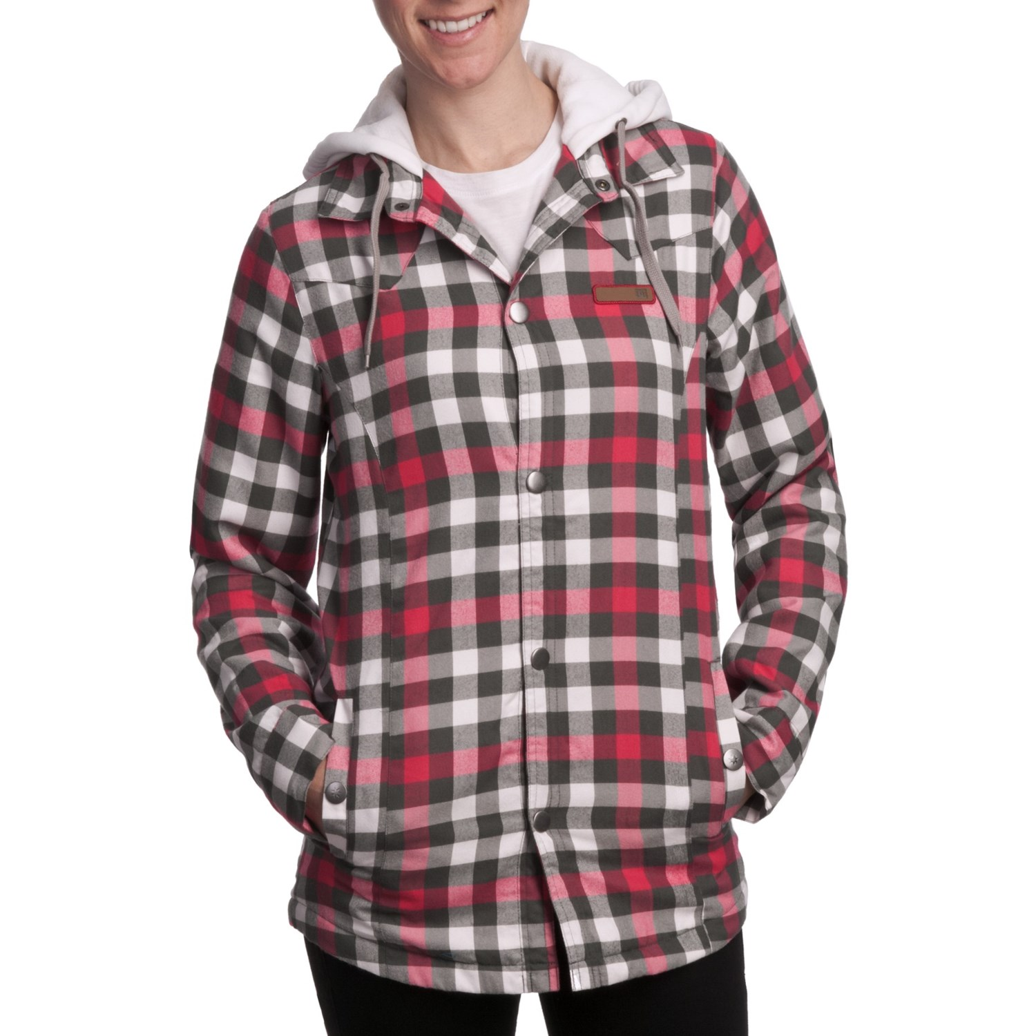Dc shoes woodbury flannel shirt jacket for women 5429u for Flannel shirt and vest