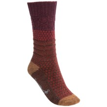 SmartWool Popcorn Cable Socks - Merino Wool, Crew (For Women) in Aubergine Heather - 2nds