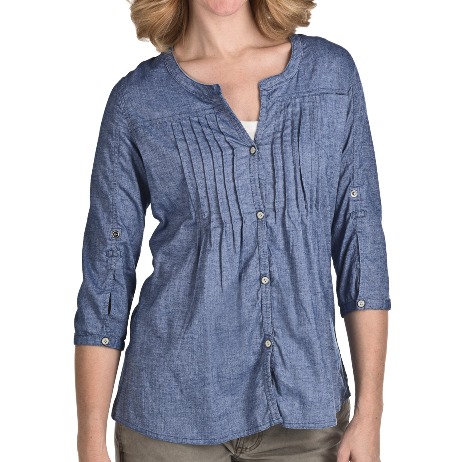 Gramicci mara chambray shirt for women 5443x save 67 for Chambray shirt women