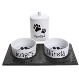 DII Hungry, Thirsty and Spoiled Ceramic Pet Dining Set