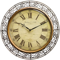 """Sterling & Noble 20"""" Wrought Iron Wall Clock"""