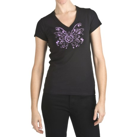 Trust Your Journey Butterfly Heart T-Shirt - Organic Cotton, V-Neck, Short Sleeve (For Women)
