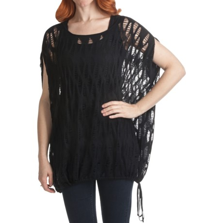 Kinross Lightweight Lace-Stitch Poncho - Modal-Cashmere (For Women)