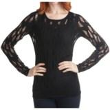 Kinross Cashmere Kinross Lightweight Luxe Lace Stitch T-Shirt - 2-Ply, 14-Gauge, Long Sleeve (For Women)