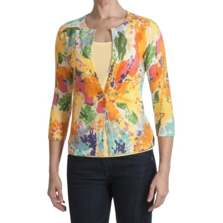 Kinross Cashmere Cardigan Sweater - Abstract Floral, 3/4 Sleeve (For Women)