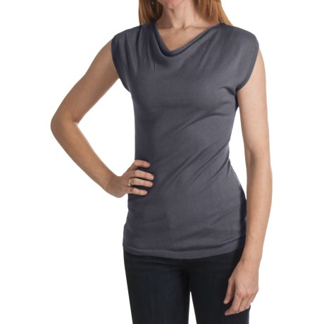 Kinross Cashmere Kinross Lightweight Luxe Drape Neck Shirt - Modal-Cashmere, Short Sleeve (For Women)