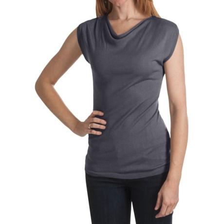 Kinross Lightweight Luxe Drape Neck Shirt - Modal-Cashmere, Short Sleeve (For Women)