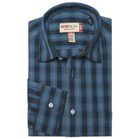 Mason's Cotton Multicolor Plaid Shirt - Long Sleeve (For Men)
