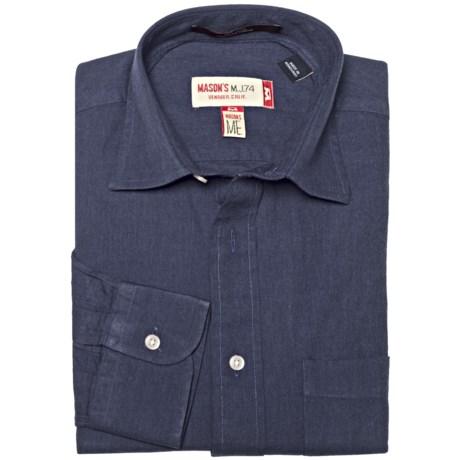 Mason's Brushed Cotton Twill Shirt - Long Sleeve (For Men)