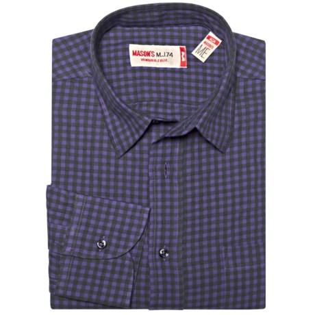 Mason's Brushed Cotton Mini-Check Shirt - Long Sleeve (For Men)