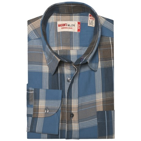 Mason's Mason's Crinkle Cotton Plaid Shirt - Long Sleeve (For Men)