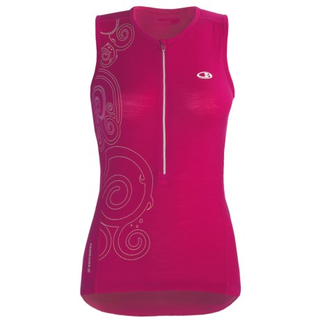Icebreaker Bike Rhythm Cycling Jersey - Merino Wool, Zip Neck, Sleeveless (For Women)