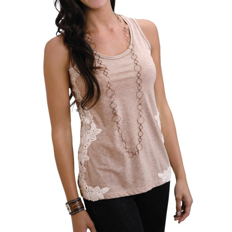 Stetson Heather Jersey Tank Top - Lace Trim (For Women)