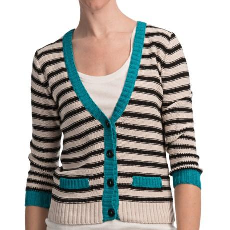 August Silk Striped Demi Cardigan Sweater (For Women)
