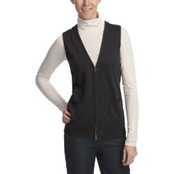 Foxcroft V-Neck Zip Front Sweater Vest - Cotton-Modal-Merino Wool (For Women)