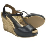 Lisa B. and Co. T-Strap Espadrille Sandals - Leather, Peep Toe (For Women)