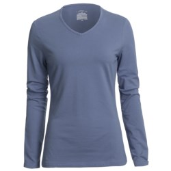 Stretch Cotton V-Neck Shirt - Long Sleeve (For Women)