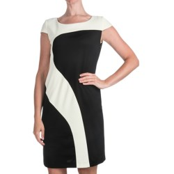 Chetta B Ponte Knit Geometric Dress - Short Sleeve (For Women)