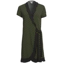 Diamond Tea Short Wrap Robe - Ruffle Trim, Short Sleeve (For Women)
