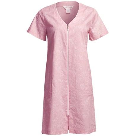 Diamond Tea Short Cotton Robe - Zip Front, Short Sleeve (For Women)