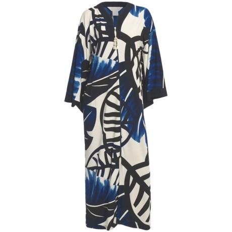 Diamond Tea Printed Robe - Zip Front, Kimono Sleeve (For Women)