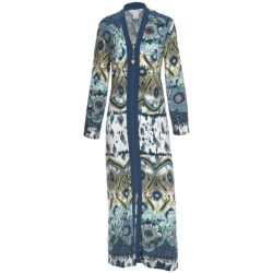 Diamond Tea Printed Jersey Robe - Zip Front (For Women)