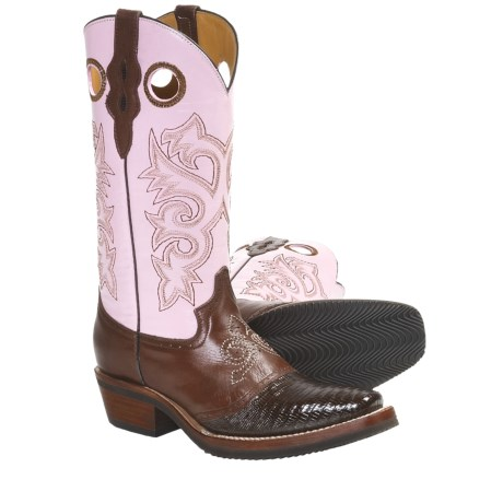"Ferrini Lizard Saddle Vamp Western Boots - 12"", D-Toe (For Women)"