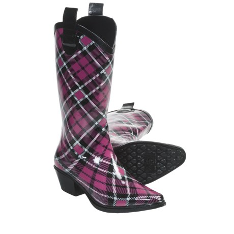 Dav Western Cowboy Plaid Rain Boots - Waterproof (For Women)