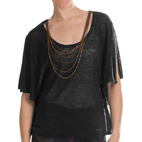 Batwing Sweater - Attached Chain Detail, Short Sleeve (For Women)