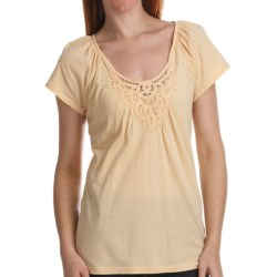 Gathered Lace-Trim Cotton Shirt - Short Sleeve (For Women)
