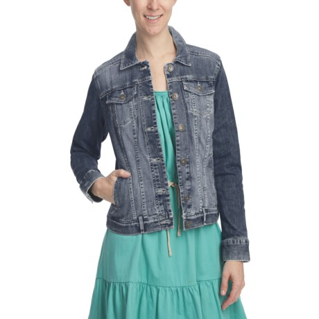 Stretch Cotton Denim Jacket (For Women)