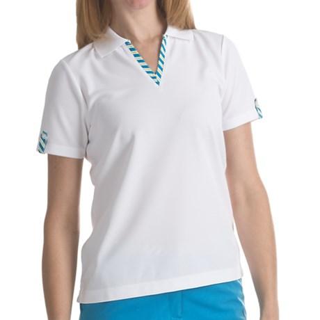 EP Pro Stripe Trimmed Tour-Tech Polo Shirt - Short Sleeve (For Women)
