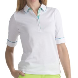 EP Pro Plaid Trimmed Tour-Dry Polo Shirt - Short Sleeve (For Women)